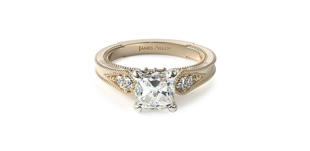 art deco engagement rings cushion cut diamond