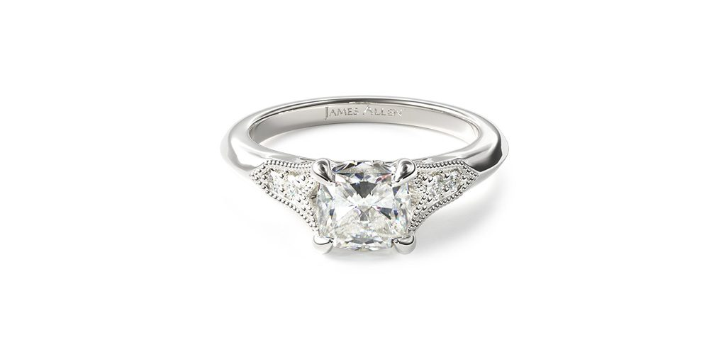 14K White Gold Art Deco Inspired Fleur-De-Lis Pave Engagement Ring