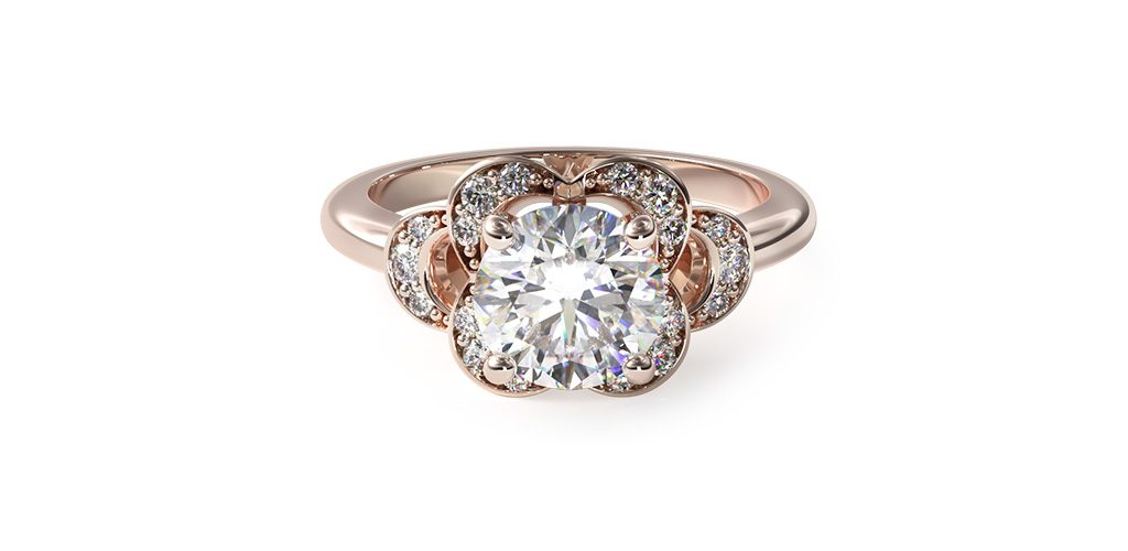 14K Rose Gold Art Deco Inspired Flower Halo Engagement Ring