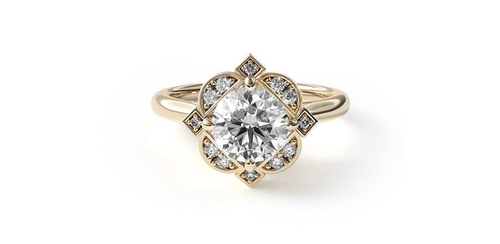art deco engagement rings geometric halo
