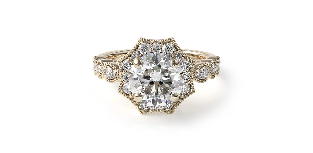 art deco engagement rings milgrain halo