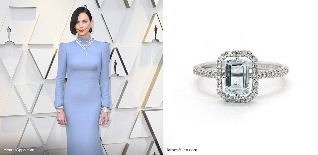 oscars inspired jewelry charlize theron aquamarine ring
