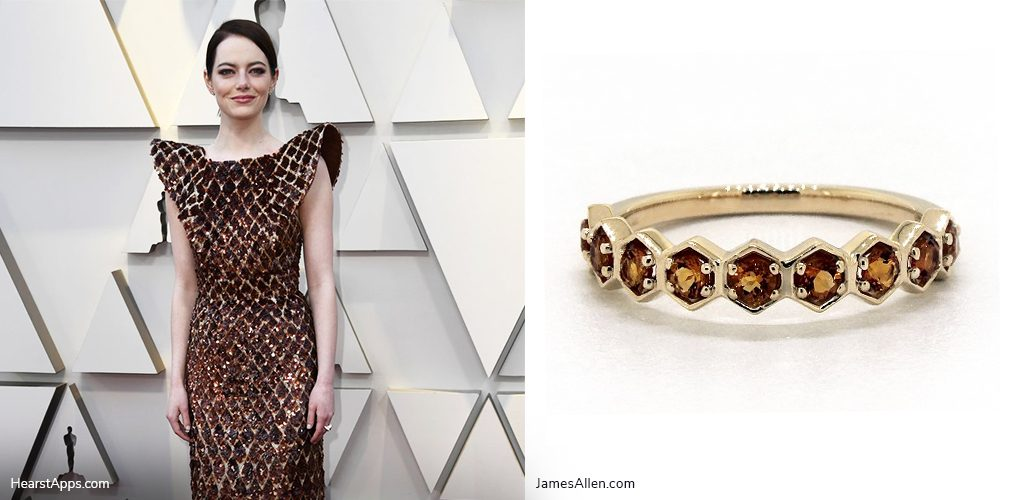 oscars inspired jewelry emma stone honeycomb citrine ring