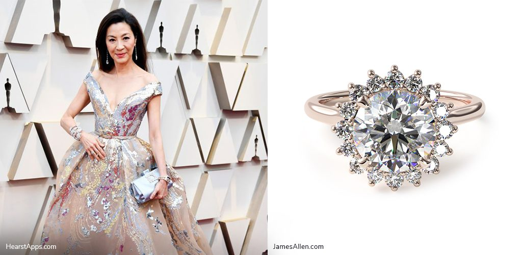oscars inspired jewelry michelle yeoh halo engagement ring