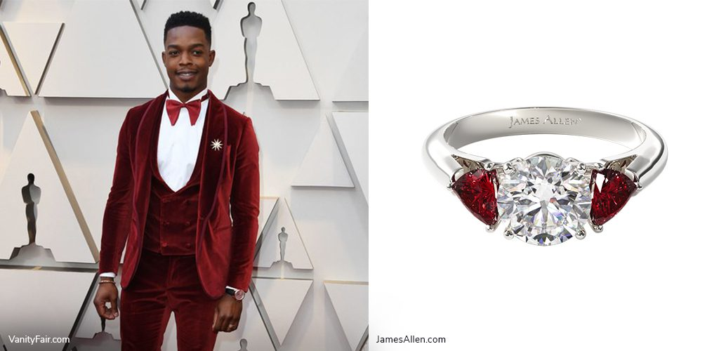 oscars inspired jewelry stephan james ruby engagement ring