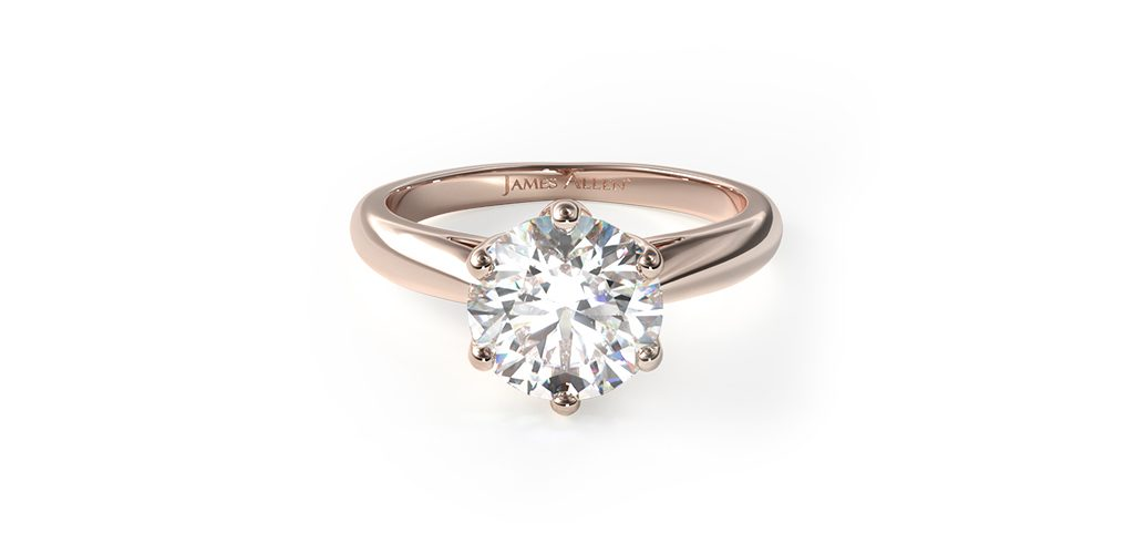 14K Rose Gold Modern Tulip Diamond Engagement Ring