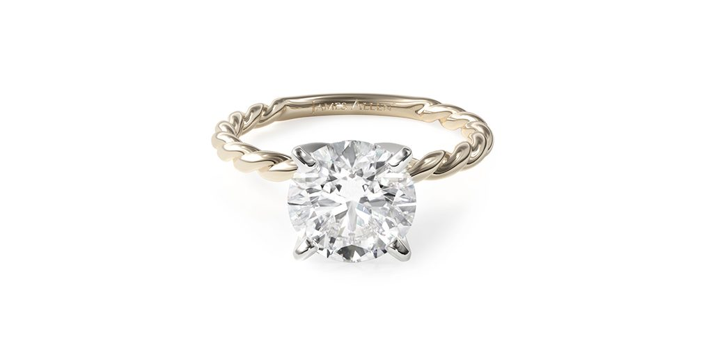 14K Yellow Gold Cable Solitaire Engagement Ring