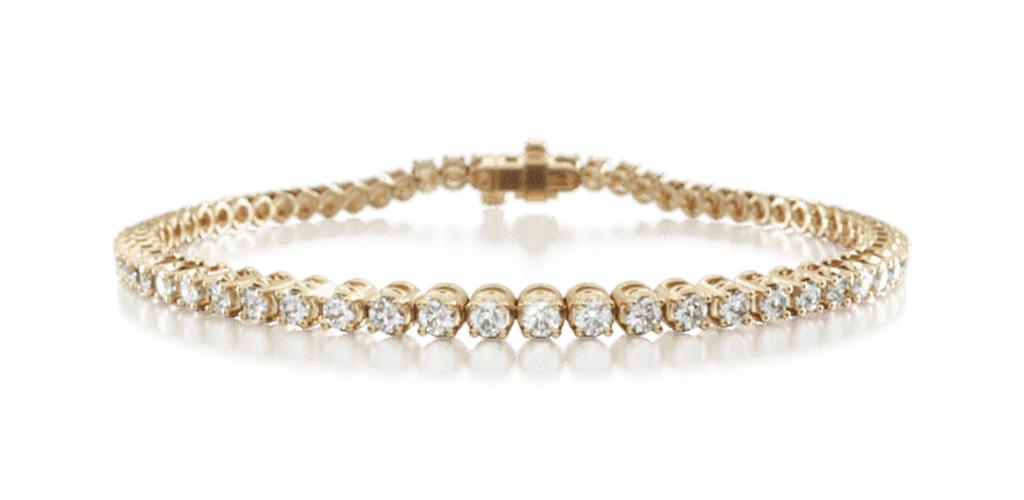 14K Yellow Gold Four Prong Diamond Tennis Bracelet