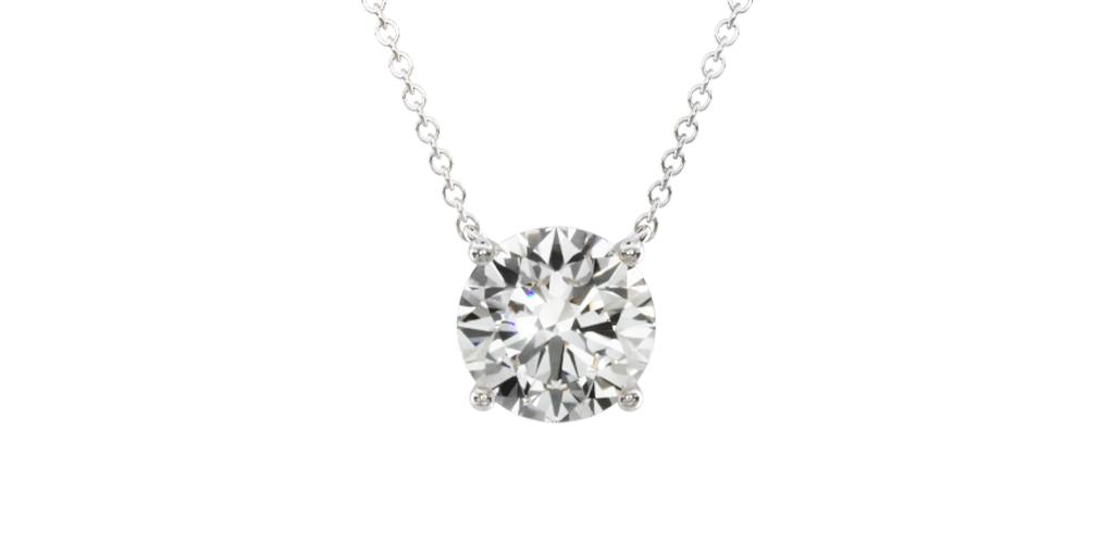 14K White Gold Four Prong Basket Solitaire Diamond Pendant