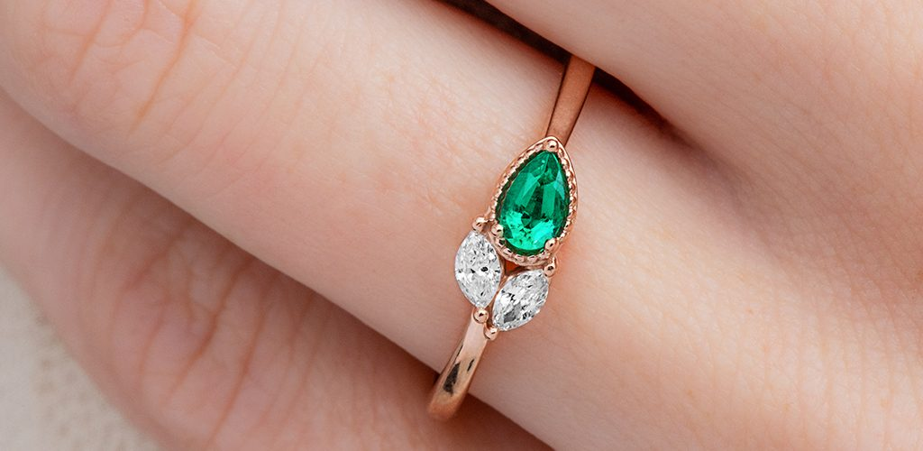 diamond emerald birthstone cluster ring
