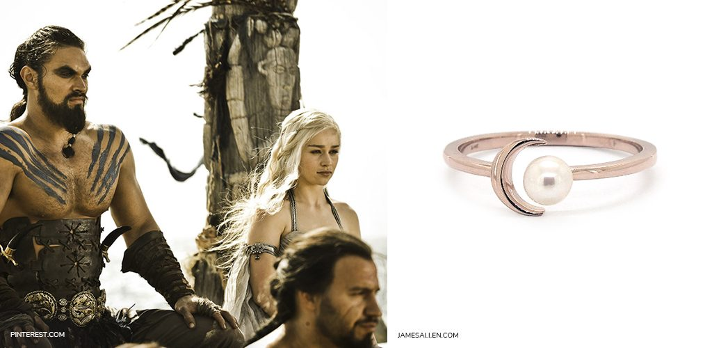 game of thrones jewelry: 14K Rose Gold Freshwater Pearl Crescent Ring