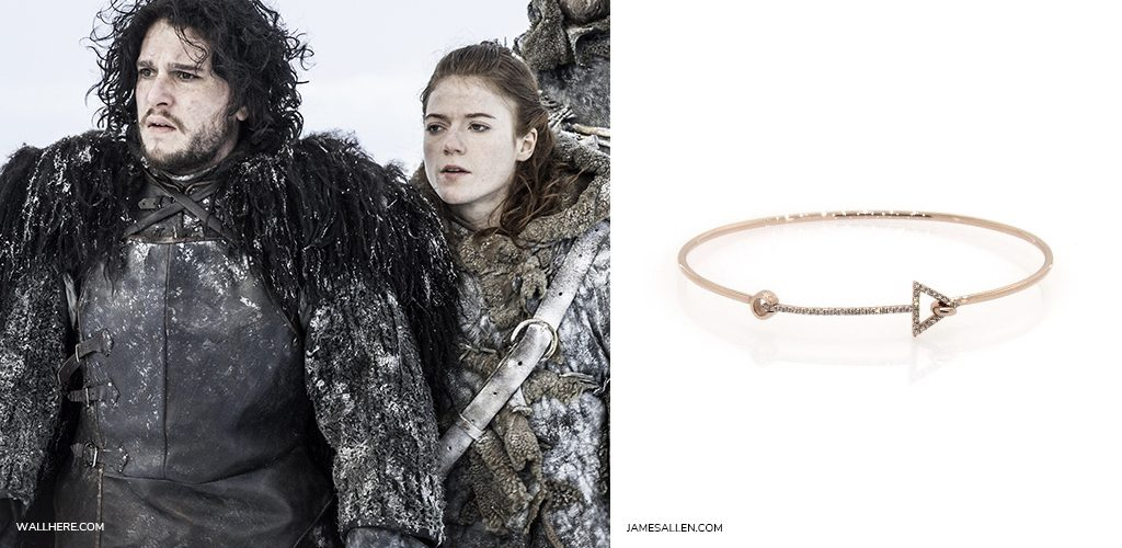 game of thrones jewelry: 14K Rose Gold Petite Arrow Diamond Bracelet