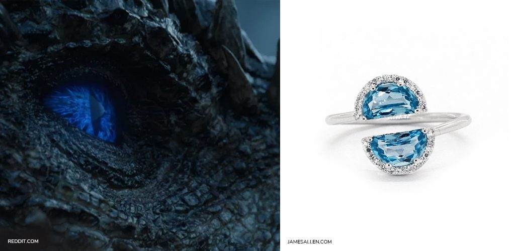 game of thrones jewelry: 14K White Gold Blue Topaz And Diamond Half Moon Bypass Ring