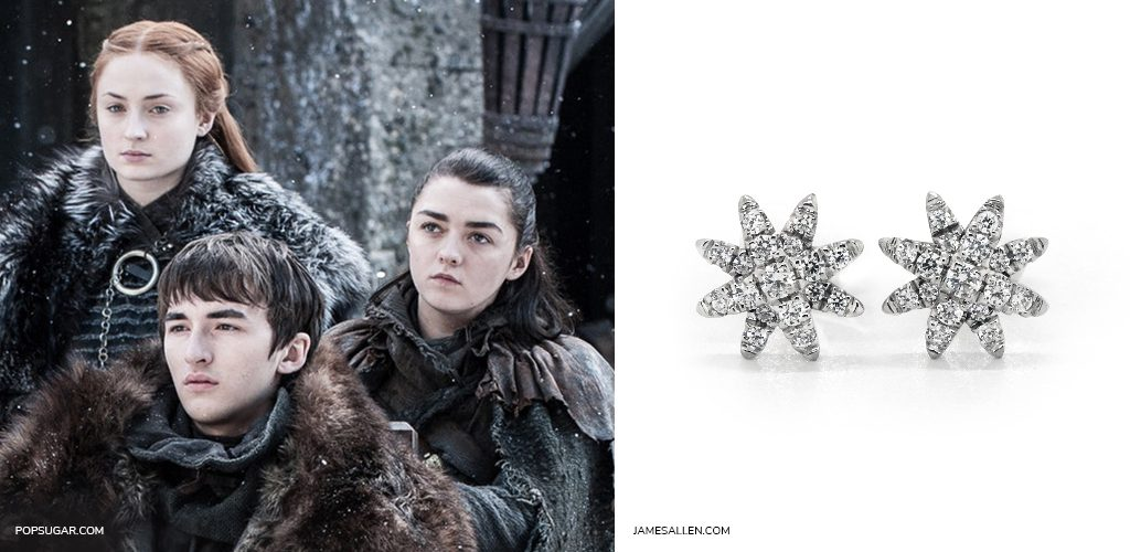 game of thrones jewelry winter is coming snowflake earrings