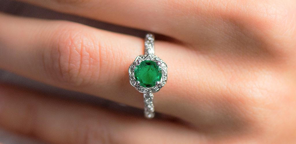 1.79.00 Carat Round Natural Green Emerald Twisted Pave Halo Engagement Ring