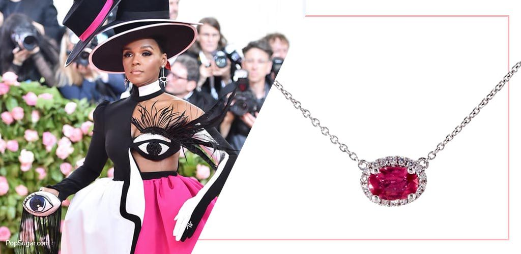 janelle monáe met gala with 18K White Gold East-West Set Oval Halo Pink Sapphire And Diamond Necklace