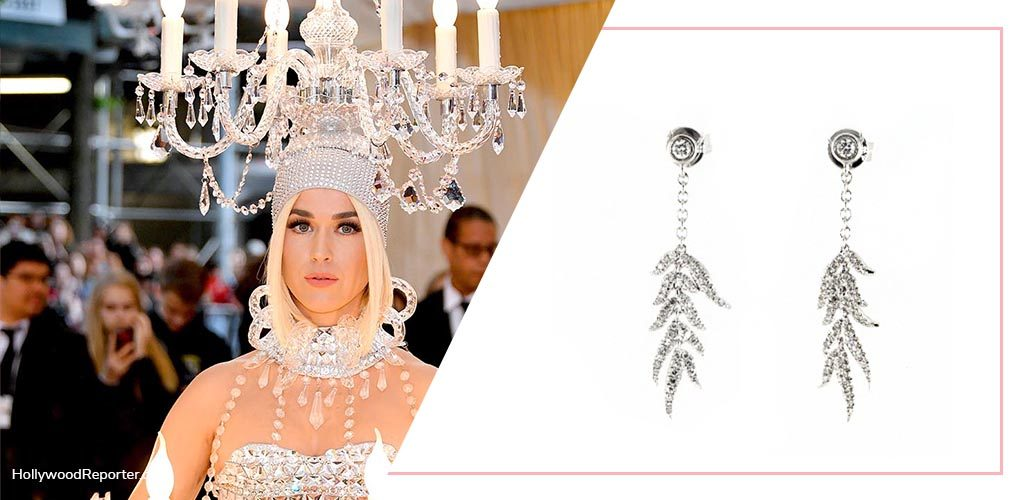 Katy Perry Met Gala with 14K White Gold Leaves Cascade Diamond Drop Earrings