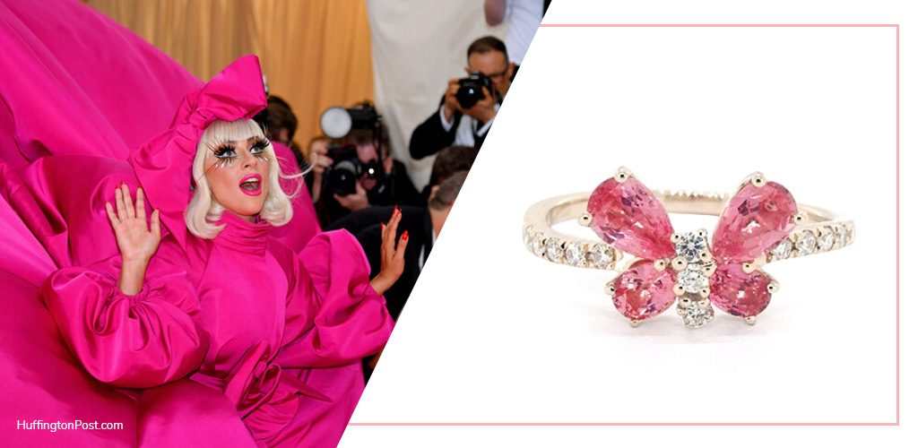 Lady Gaga with 14K Yellow Gold Butterfly Pink Sapphire And Diamond Ring By EFFY