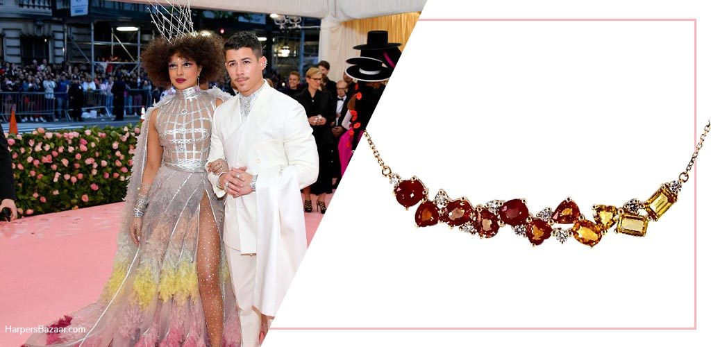 Priyanka Chopra Jonas Met Gala with 14K Yellow Gold Yellow Orange Sapphire And Diamond Cluster Bar Necklace