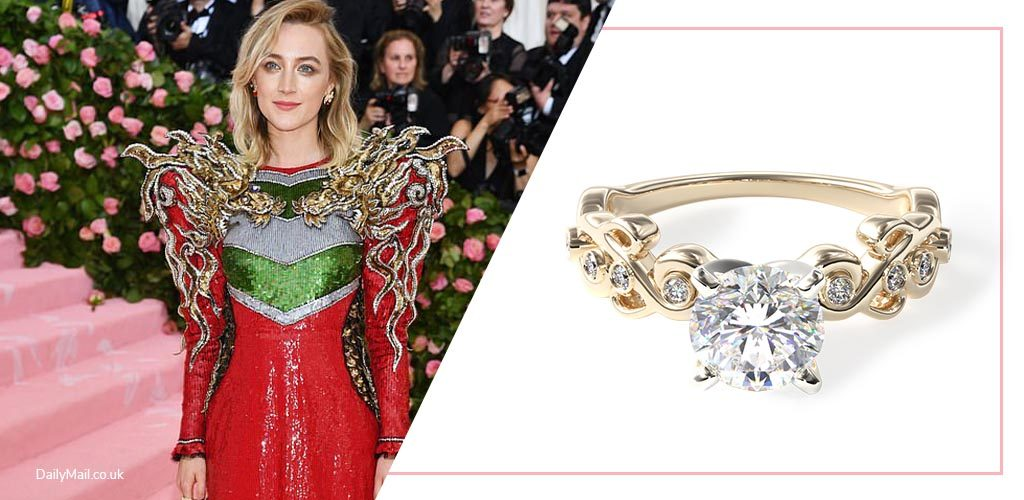 Saoirse Ronan Met Gala with 14K Yellow Gold Blossoming Vine Diamond Engagement Ring