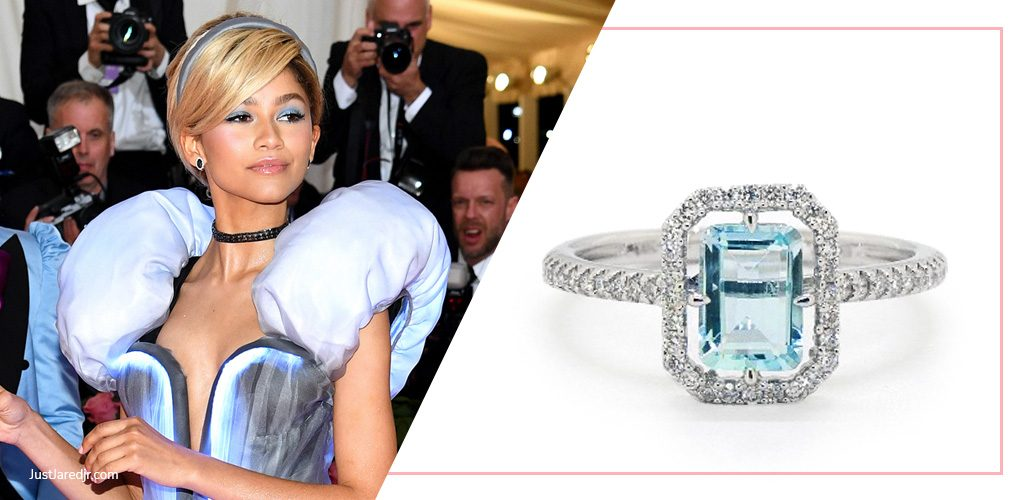 zendaya met gala with 14K White Gold Aquamarine And Diamond Floating Halo Ring