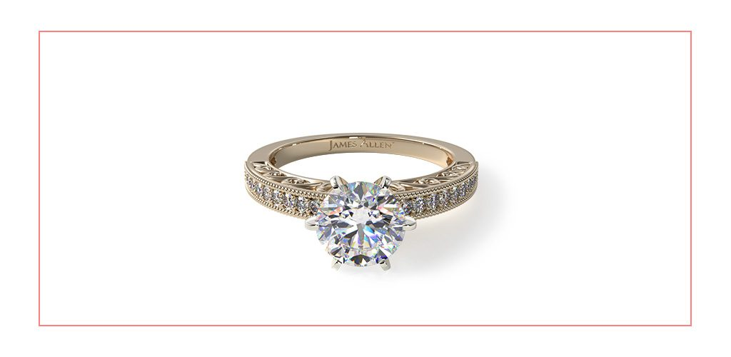 engraved pave vintage style engagement ring reviews