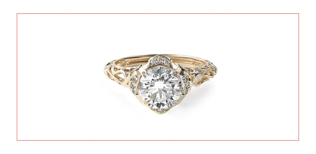 14K Yellow Gold Diamond Filigree Engagement Ring