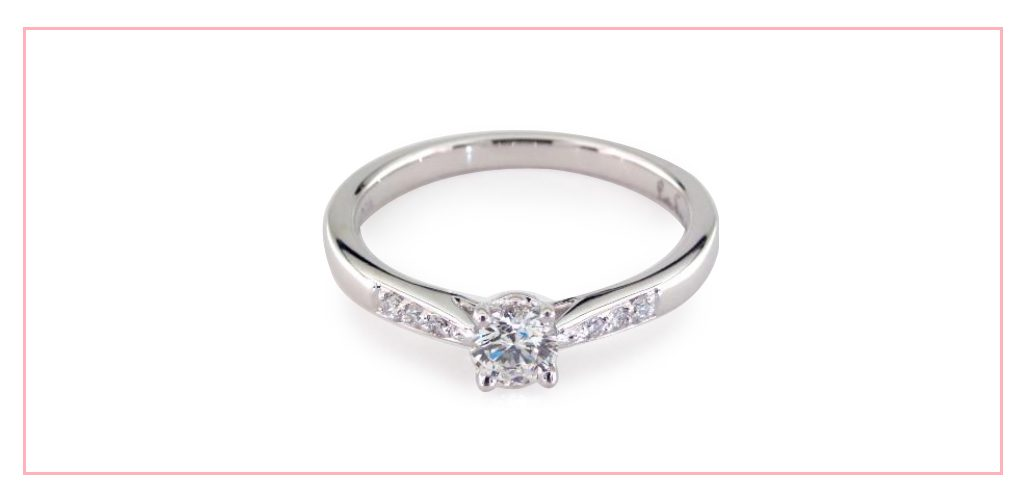 14K White Gold Petite Diamond Accent Engagement Ring