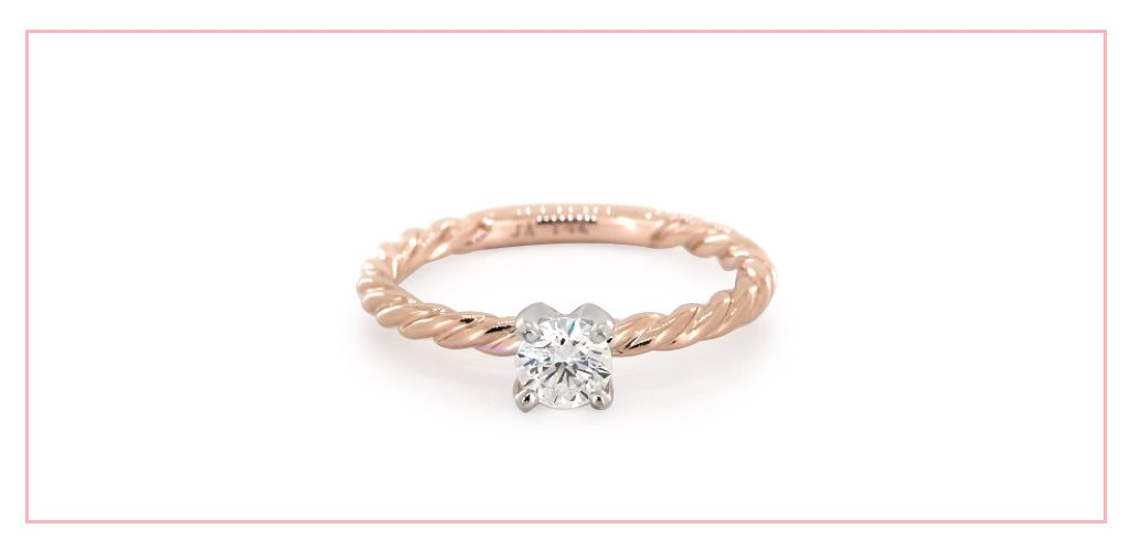 14K Rose Gold Cable Solitaire Engagement Ring