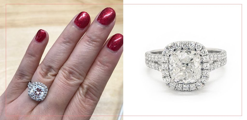 split band halo engagement ring advice