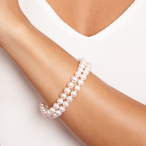 14K Yellow Gold Freshwater Cultured Pearl Double Strand Bracelet
