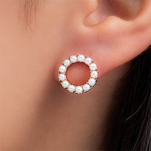 14K Yellow Gold Freshwater Cultured Seed Pearl Open Circle Earrings