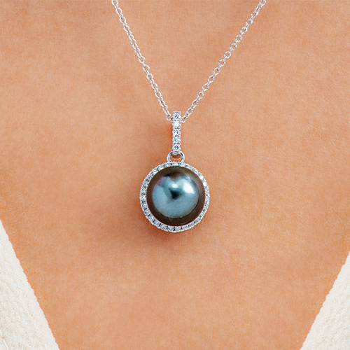 14K White Gold Tahitian Cultured Pearl And Diamond Halo Necklace