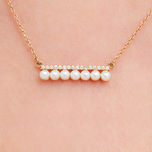 14K Yellow Gold Freshwater Seed Pearl And Diamond Bar Necklace