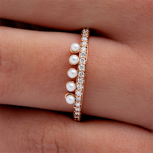 14K Rose Gold Crown Freshwater Seed Pearl And Diamond Ring