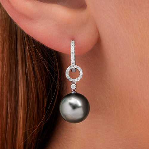 18K White Gold Tahitian Cultured Pearl And Diamond Link Drop Earring