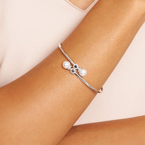 14K White Gold Cultured Akoya Pearl And Sapphire Bracelet