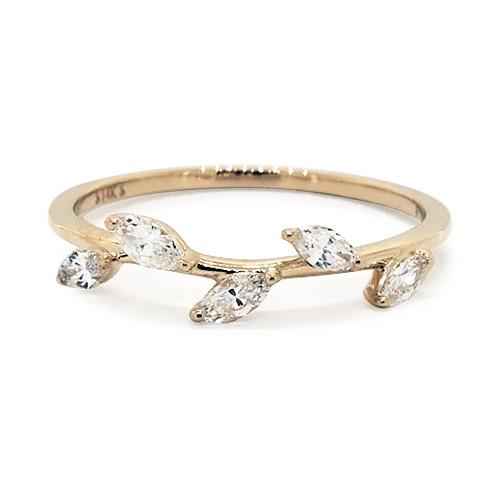 14K Yellow Gold Leaf Motif Diamond Ring