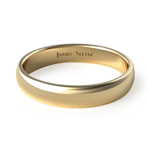 Yellow Gold Slightly Domed Ring