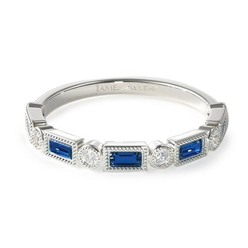 14K White Gold Diamond And Sapphire Baguette Milgrain Ring