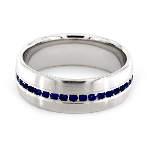 14K White Gold 7.5mm Comfort-Fit Channel Set Sapphire Ring