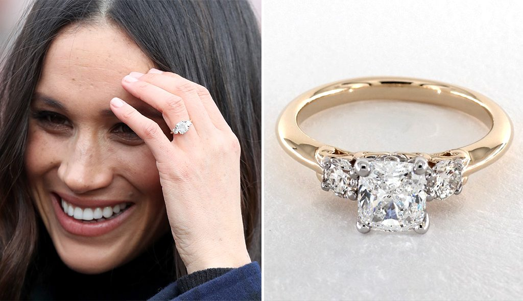 Get Inspired by Meghan Markle's 14K White Gold Princess Trio Diamond Engagement Ring