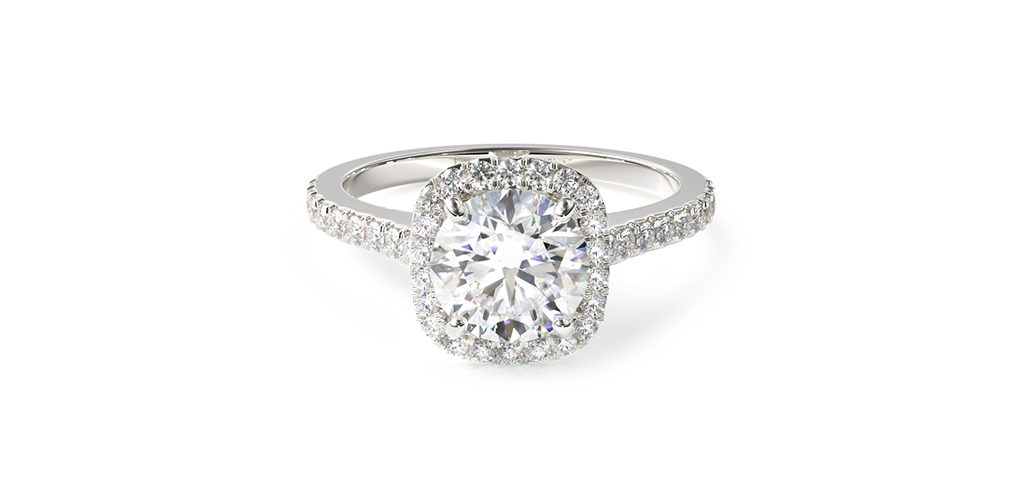 14K White Gold Cushion Outline Pave Engagement Ring