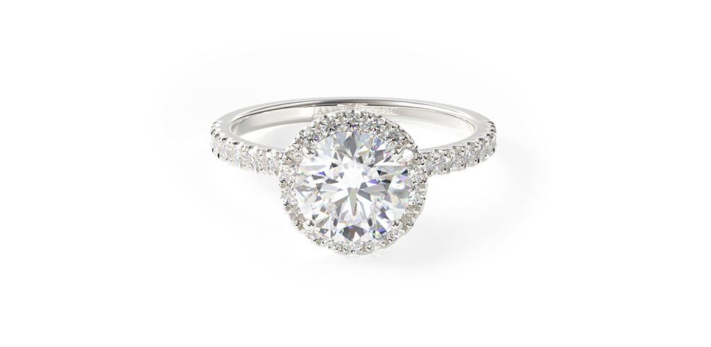 14K White Gold Embellished Gallery Pave Diamond Halo Engagement Ring