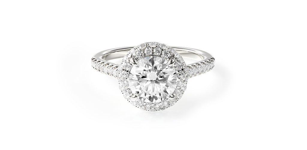 14K White Gold Falling Edge Pave Diamond Engagement Ring