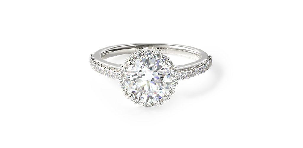 14K White Gold Petite Diamond Halo Engagement Ring