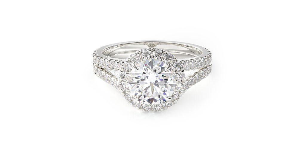 14K White Gold Round Split Band Diamond Halo Engagement Ring