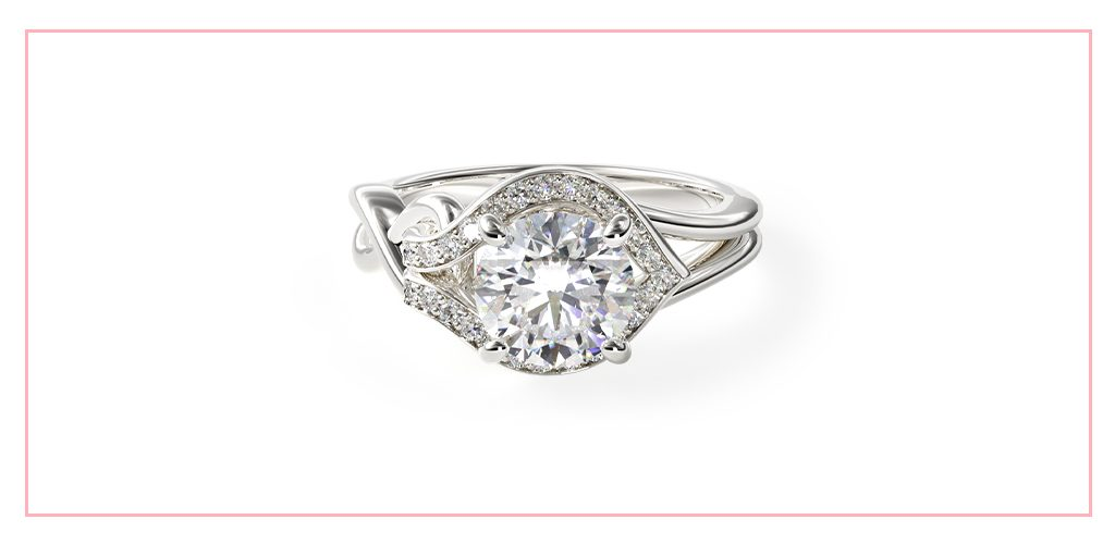 14K White Gold Asymmetrical Diamond Love Knot Engagement Ring