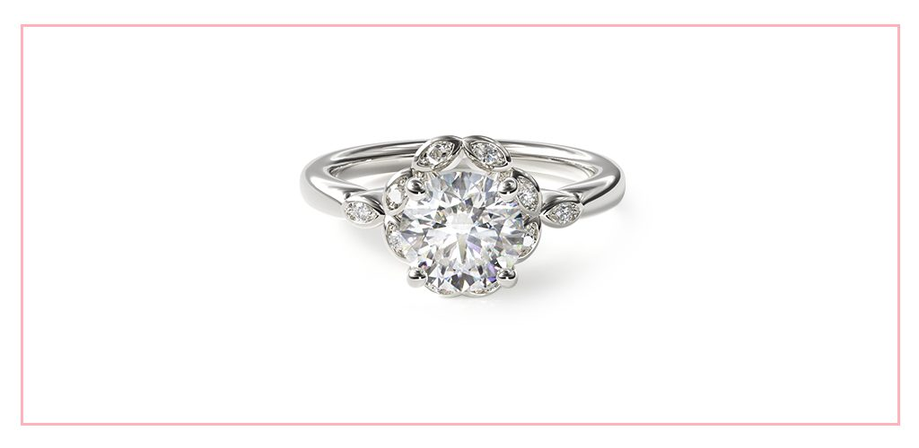 14K White Gold Marquise Halo Engagement Ring