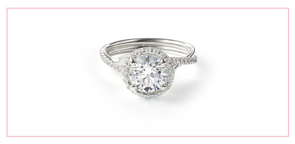 14K White Gold Pavé Halo And Twisted Shank Engagement Ring